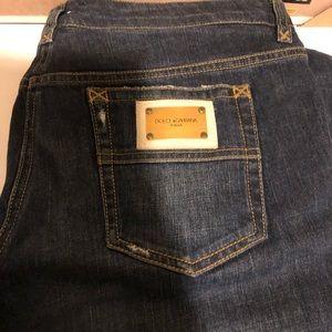 Authentic D&G denim logo patch jeans